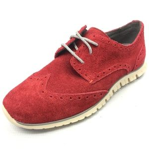 COLE HAAN Zerogrand Red Suede Wingtip Oxford Shoes